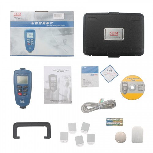 CEM DT-156 Paint Coating Thickness Gauge Meter Auto F/NF Probe 1250μm V-groove