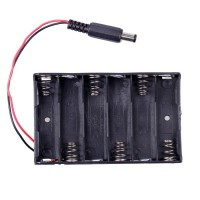 6 x AA Battery Case with DC2.1 Power Jack for Arduino ( Black Color ) 10pcs/lot