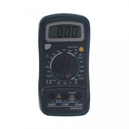 MAS830L Pocket Portable 1999 Counts Digital Multimeter with Data Hold