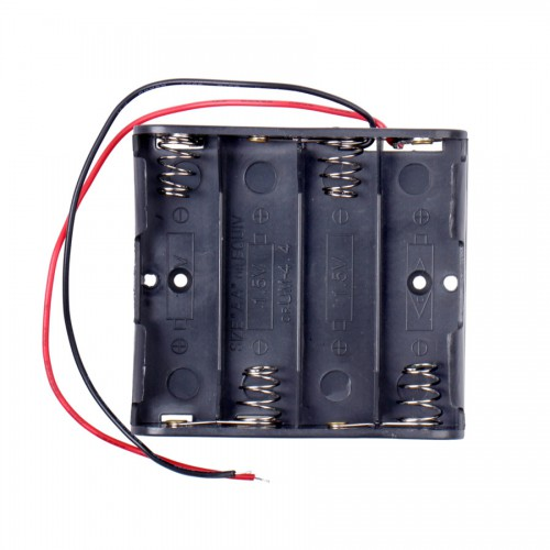 4 x AA Battery Case Holder with Leads for Arduino - Black 10pcs/lot
