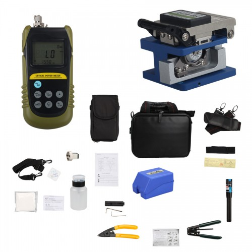 Fiber Optic FTTH Tool Kits Optical Fiber Cleaver AUA-6S 1Mw Visual Fault Locator Fiber Power Meter